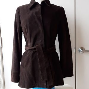 NWT Banana Republic brown suede trench jacket